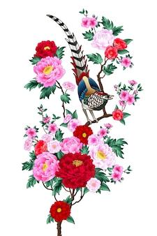 垂直キャンバスに咲く牡丹の枝と中国のキジ