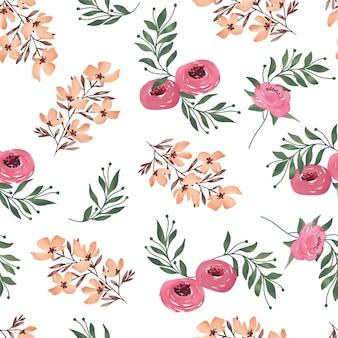 Blooming pink and brown flower seamless petern