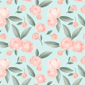 Blooming pink watercolour floral pattern