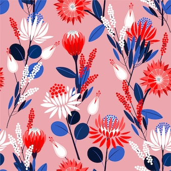 Blooming protea flowers in the garden full of botanical plants seamless pattern in vector design for fashion, wallpaper, wrapping and all prints
