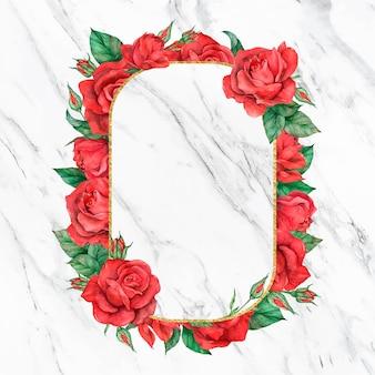 Blooming red rose frame