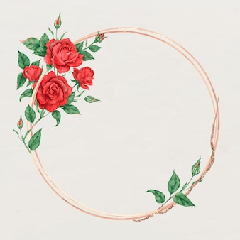 Blooming red rose gold frame