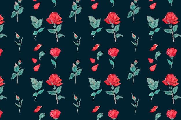 피는 빨간 장미 패턴 배경