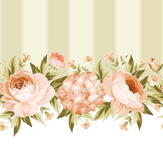 Цветущая роза и карта рамки гортензии.