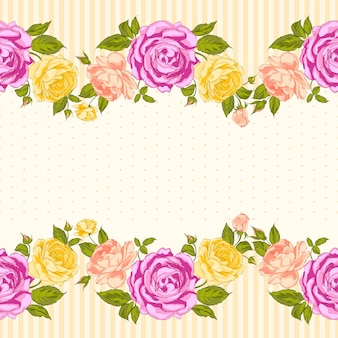 Blooming rose background with seamless pattern