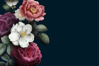 咲くバラのバナー