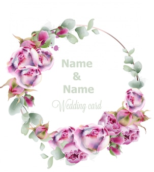 Blooming roses wedding wreath watercolor