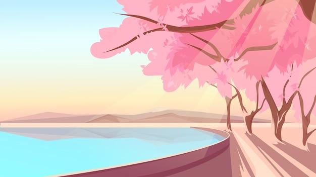 호수 은행에 피는 벚꽃