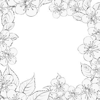 Blooming sakura rectangle frame.