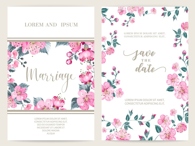 Blooming sakura wedding frame card.