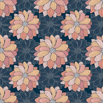 Blooming seamless abstract modern floral pattern in pink flowers