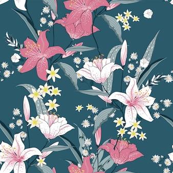白とピンクの咲くシームレスなパターンリリーのベクトル