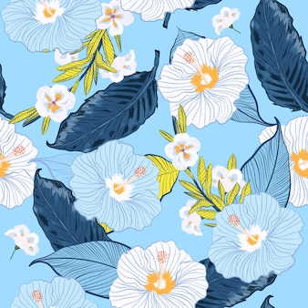 Blooming seamless vector floral pattern