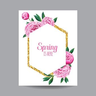 ゴールデンフレームで咲く春と夏の花のデザイン。招待状、結婚式、ベビーシャワーカード、ポスター、バナー用の水彩ピンクの牡丹の花。ベクトルイラスト