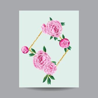 피는 봄과 여름 꽃 프레임입니다. 초대, 결혼식, 베이비 샤워, 인사말 카드, 포스터에 대한 수채화 분홍색 모란 꽃. 벡터 일러스트 레이 션
