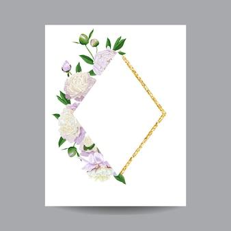 咲く春と夏の花のフレーム。招待状、結婚式、ベビーシャワー、グリーティングカード、ポスターのための水彩の白い牡丹の花。ベクトルイラスト