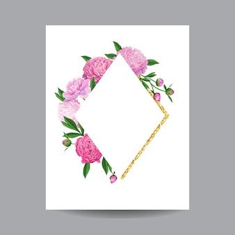 咲く春と夏の花のゴールデンフレーム。招待状、結婚式、ベビーシャワー、グリーティングカード、ポスター用の水彩ピンクの牡丹の花。ベクトルイラスト