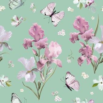 피 봄 화려한 꽃 패턴 배경입니다. 벡터에 원활한 패션 인쇄