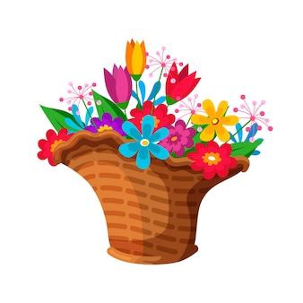 Цветущая весенняя красочная композиция букета цветов в плетеной корзине для продажи