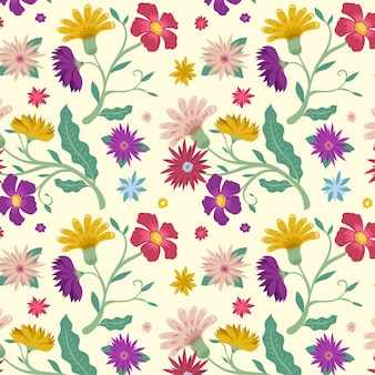 Blooming spring flowers on fabric pattern