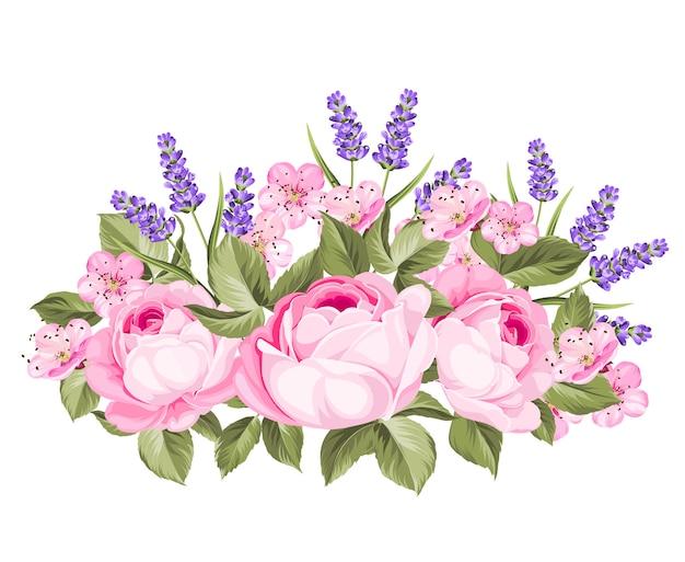 Blooming spring flowers garland.