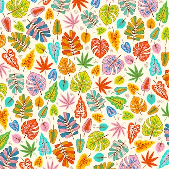Blooming spring leaves on fabric pattern