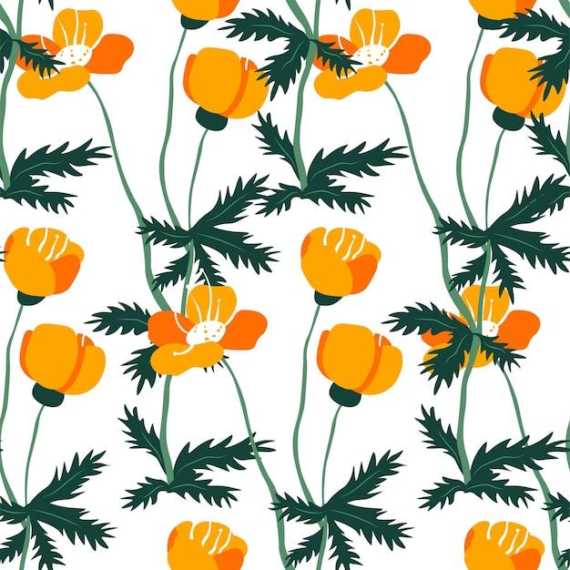 葉と咲く春または夏の花