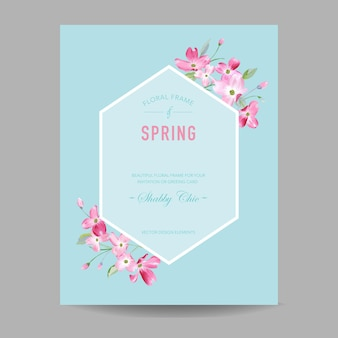 Blooming spring and summer floral frame. watercolor sakura flowers for invitation, wedding, baby shower card