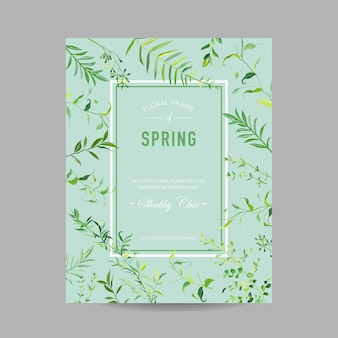 Blooming spring and summer floral frame with tropical leaves