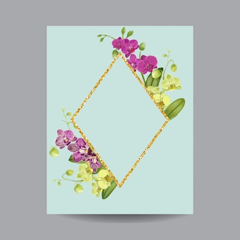 Blooming spring and summer golden floral frame.