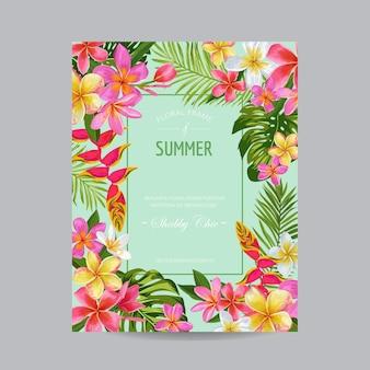 Цветущая летняя цветочная рамка, плакат, баннер. карта тропических цветов для приглашения, поздравления, свадьбы, детского душа. векторная иллюстрация