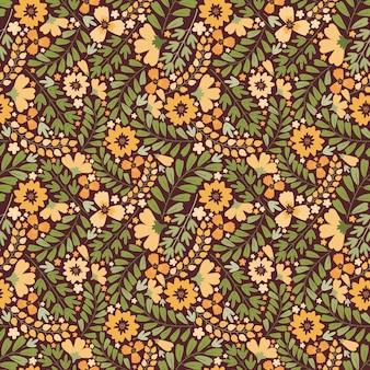 咲く夏の牧草地のシームレスなパターン。密な花の背景を繰り返します。畑にはたくさんの黄色い花、つぼみ、葉、茎があります。リバティミレフルー。スカンジナビアスタイルのアートフローラル