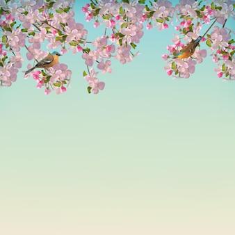 Blooming tree branch in springtime