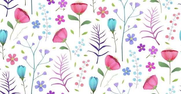 咲く熱帯の花夏のシームレスパターン