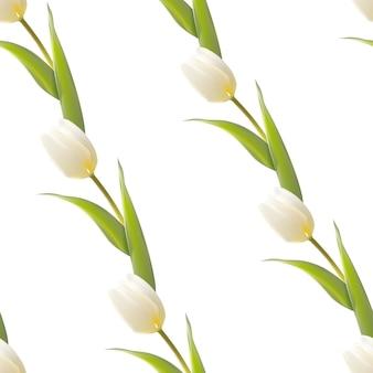 白い背景に咲くチューリップシームレスパターン。