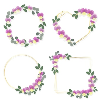 Blooming viola or pansy flower wreath with golden frame collection flat style