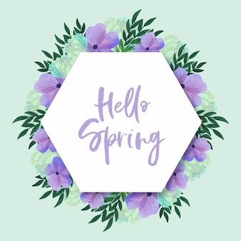 Blooming violet flowers watercolour spring frame