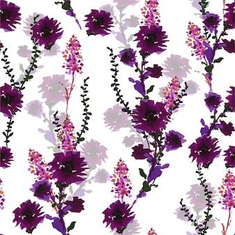 手描きのマーカーペンからシームレスなパターンをベクトル、ファッション、ファブリック、壁紙、ラッピング、すべてのプリントのデザインで手描きの紫色の野生の花が咲く