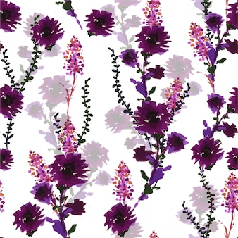 Blooming violet wild flowers from hand drawn marker pen vector seamless pattern in vector, design for fashion, fabric, wallpaper, wrapping and all prints
