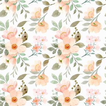 咲く水彩画の花のシームレスなパターン