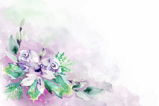 Blooming watercolor flowers for background design