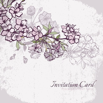 Blossom cherry or sakura wedding invitation card