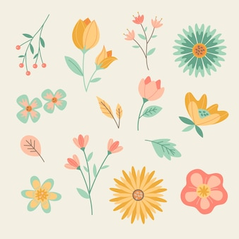 Blossom colourful spring flowers flat design collection
