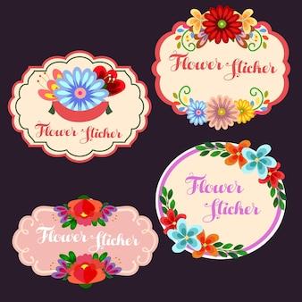 花かわいい花のステッカー