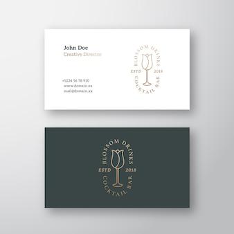 Коктейль-бар blossom drinks абстрактный векторный логотип и шаблон визитной карточки