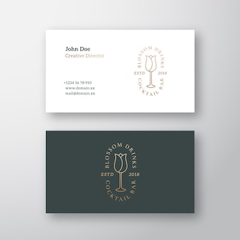 Blossom drinks cocktail bar abstract vector logo and business card template