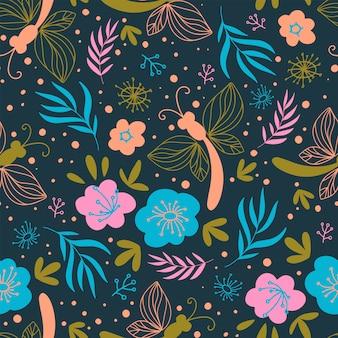 Blossom 직물 자연 꽃 인쇄 원활한 패턴 벡터