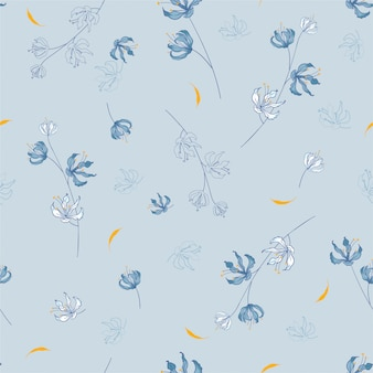 Blossom floral pattern in the blooming botanical motifs scattered random. seamless texture.