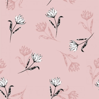 Blossom floral pattern in the blooming botanical white lily flowers motifs scattered random. hand drawn style