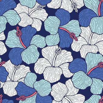 Blossom floral pattern hand drawn seamless in blue flowers